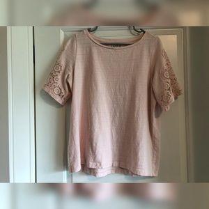 Loft blush pink t shirt sz L